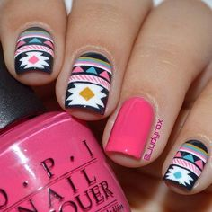 Among various nail designs, tribal nails always take up important position and are the sole. Aztec Nail Designs, Nail Art Designs, Black Nail Designs, Colorful Nail Designs, Love Nails, Pink Nails, Pretty Nails, My Nails, Black Nails