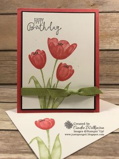 Tranquil Tulips, Patty's Birthday Card & Gift – Just Sponge It! Card Making Inspiration, Making Ideas, Stampin Up Catalog 2017, Big Flowers, Exotic Flowers, Flowers Garden, Purple Flowers, Spring Flowers, Retirement Cards