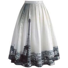Chicwish Eiffel Tower Dream Printed Midi Skirt