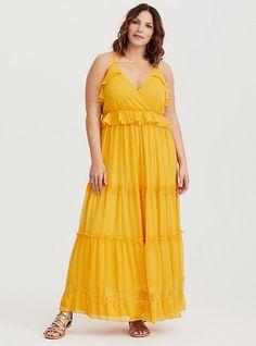 b8382e28ab0 Plus Size Yellow Chiffon Maxi Dress