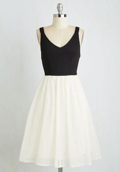 Adore You to Move Dress - Mid-length, Black, White, Solid, Party, Homecoming, Twofer, Sleeveless, Woven, Better, Fit & Flare