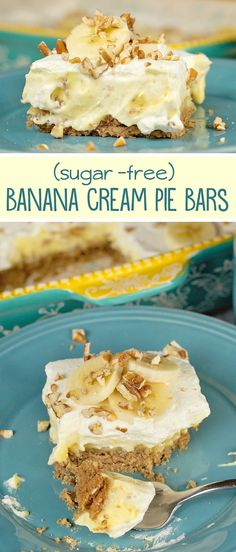 These Banana Cream Pie bars are so easy to make! (best part is you can make them sugar free (and semi low carb)! These Banana Cream Pie bars are so easy to make! (best part is you can make them sugar free (and semi low carb)! Keto Desserts, Paleo Dessert, Diabetic Friendly Desserts, Low Sugar Desserts, Desserts Sains, Easy Desserts, Dessert Recipes, Diabetic Desserts Sugar Free Low Carb, Banana Recipes Diabetic