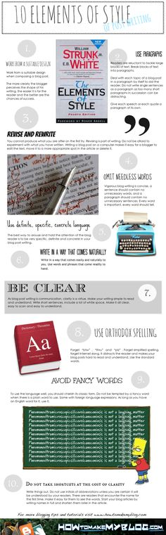 10 Elements Of Writing Style [Infographic]  by MILANA SARIC  The Elements of Style by Strunk and White is recognized as the best book on writing. Stephen King mentions he is a fan in On Writing and recommends it for anyone who wants to write for a living. This infographic shows you the writing lessons learned from The Elements Of Style.        Share the Elements Of Style infographic on your site