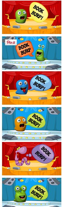 Book Burps! What a fun way to share about favorite books! Book Burps are short book reviews that kids record and create using an iPad app. These are title slides they can choose from. Then they make QR codes of the book burp and put inside library books for kids to scan and watch. Awesome!