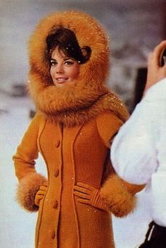 """Natalie Wood - """"The Great Race"""" ~ coat and hood designed by Edith Head. I want one just like it but black!!!!"""