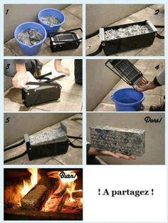 """Brique de papier : 1) Mettre vos déchets papier dans un seau avec de l'eau puis laissez reposer jusqu'à obtenir une sorte de pâte 2) Mettre la """"mixture"""" dans le presse papier 3) Pressez 4) Évacuez l'eau 5) Laissez sécher 6) Votre brique est prete 7) Et hop ! Dans le feu :) ne vous ruinez plus en vous chauffant"""