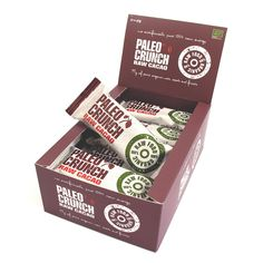 Paleo Crunch RAW ENERGY CACAO - Paleo Crunch bars are 100% uncooked and unprocessed to preserve all those great nutrients, enzymes and antioxidants. RAW CACAO contains over a hundred known plant nutrients and the effect of those are enormous, it is a natural source of MAGNESIUM that lowers the risk of muscle cramps and enhances the brain capacity! RAW CACAO is also a great source of Zinc, Chrome and Iron... Lots of great stuff there!
