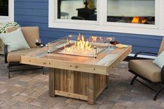 Distressed, colorful design Vintage Rectangular Fire Pit Table with Glass Guard by The Outdoor GreatRoom Company for your upscale patio or backyard design Pergola Designs, Pergola Kits, Pergola Ideas, Pergola Patio, Rustic Pergola, Pergola Plans, Backyard Patio, Patio Ideas, Backyard Ideas