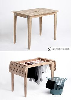 table transforms into drying rack Laundry Table // Living in a Shoebox. OMG this would be huge or apartment living!Laundry Table // Living in a Shoebox. OMG this would be huge or apartment living! Smart Furniture, Furniture For Small Spaces, Home Furniture, Furniture Design, Balcony Furniture, Multifunctional Furniture Small Spaces, Furniture Ideas, Bedroom Furniture, Compact Furniture