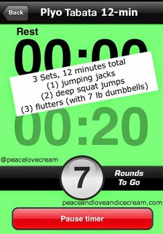 An awesome Tabata workout, includes plyometric, strength, cardio and toning! in only 12 minutes!