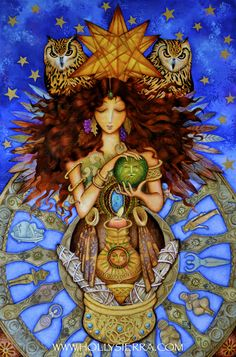 Evangeline, Maker of MAGIC ~ Evangeline emerges from the 'Otherworld' through the Wheel of the Ancient Goddesses. A Golden Star above her head, A feathered veil parts, Through wafting smoke and Owl's wings, the CRYSTAL BALL promises nature's renewal! ( A new Painting for Beltane)
