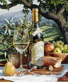 "This is a photorealistic wine art watercolor still life painting by Eric Christensen titled ""Vineyard View"""