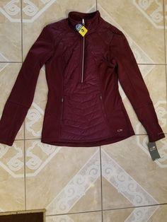 b4c9dec81f Womens C9 Champion Duo Dry Reflective Jacket Activewear Pullover Burgandy  Size M  fashion  clothing