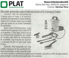 Kärcher: Nueva hidrolavadora K2 Compact Dakar en el diario Del País de Perú (19/02/15)