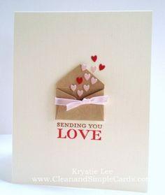 Sending You Love card - valentine's day card idea! Paper Cards, Diy Cards, Tarjetas Diy, Heart Cards, Valentine Day Crafts, Valentines Day Cards Handmade, Homemade Valentine Cards, Cute Valentines Card, Creative Cards