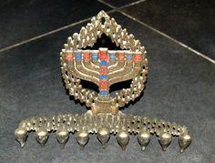 #Judaica #Menorah #Hanukkah #Vintage #Israel Brass Cast #Enamel Signed #HenHolon