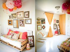 most adorable bedroom ever - pallet bed, bright pillows, salon style hanging frames and paper lantern ceiling decor. Under The Sycamore, Nailart, Bright Pillows, Washi Tape Diy, Hanging Frames, Up House, Salon Style, Ceiling Decor, Paper Lanterns
