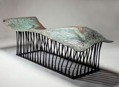 Chaise Muse Forged steel, copper 205 x 80 x 60 cm Unique South African Design, Blacksmith Tools, Forging Metal, Forged Steel, High Carbon Steel, Old Art, Light And Shadow, Designer Wallpaper, Blacksmithing
