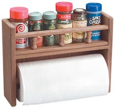 Teak Spice Rack With Paper Towel Holder Spice Rack And Paper Towel Holder, Wooden Paper Towel Holder, Wall Spice Rack, Spice Holder, Diy Spice Rack, Countertop Spice Rack, Pallette Furniture, Wooden Projects, Home Office Shelves