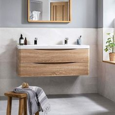 Purchase the Harbour Clarity Wall Hung Vanity Unit & Basin - Bardolino Driftwood Oak from Drench - Enjoy free delivery on orders over Bathroom Vanity Units Uk, Wooden Bathroom Vanity, Wall Mounted Vanity, Bathroom Ideas, Modern Bathroom, Bathroom Vanities, Bathroom Interior, Bathroom Inspiration, Unit Bathroom