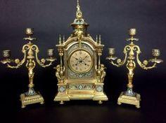19TH CENTURY CHAMPLEVÉ ENAMEL CLOCK SET