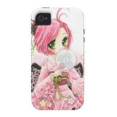 Beautiful anime Japanese girl in Kimono Case-Mate iPhone 4 Cover #japan #oriental