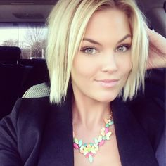 Cute short hair and obsessed with the colorful necklace can't wait for spring!