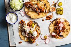 Chicken mole poblano tacos with cilantro-lime yogurt