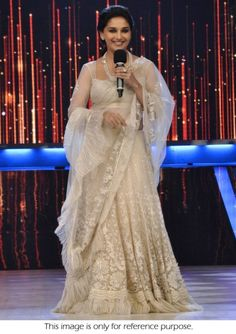 Bollywood Actress Madhuri Dixt Jalak Dikla Jaa net and silk lehenga in white color