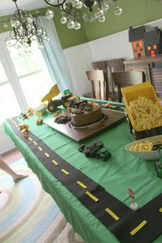 """** I like the """"road"""" on the table - could use at a cars/truck party ** construction birthday party.this is cute for a boy party! Third Birthday, 3rd Birthday Parties, Birthday Fun, Cars Trucks Birthday Party, Birthday Table, Birthday Ideas, Construction Theme, Construction Birthday Parties, Fete Vincent"""