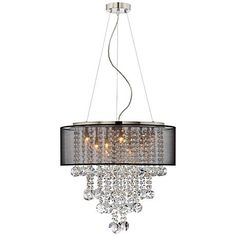 A transitional style chandelier from the Bretton Collection. The design features a brushed nickel housing and canopy, with hanging strands of beautiful clear glass crystal.