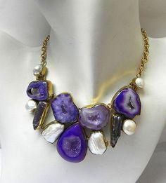 Party Wear Multi Gemstone Brass Gold Vermeil Bubble/Bib/Statement Chain Necklace #Handmade #Choker