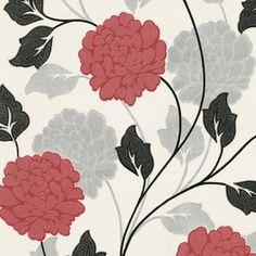 5fb76c54a16 Belgravia Dahlia Flower Pattern Floral Motif Textured Glitter Wallpaper  6722 - White Red. Glitter Behang ...