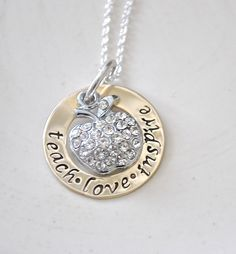 Teachers Necklace Hand Stamped Personalized by Cheri1973 on Etsy, $28.00