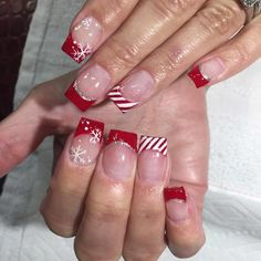 Combine French tips with a peppermint theme by making the ends red instead of white.
