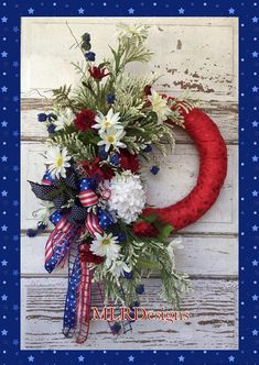 Show your Patriotic Pride with this STUNNING wreath! Covered in Premium Red glitter star ribbon with florals of hydrangea, peonies, Daisy's, blue and white filler flowers and adorned with a gorgeous triple ribbon bow. This wreath can be used on a graveside or memorial. Measures