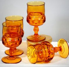 Indiana Glass Kings Crown Thumbprint Amber Glasses