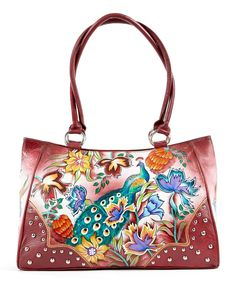 Look at this Pink Hand-Painted Peacock Leather Tote on #zulily today!