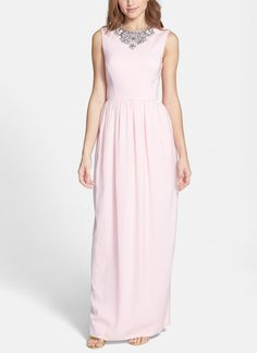 This sparkly pink Ted Baker embellished crepe gown is simply beautiful.