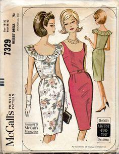 McCalls 7329 1960s Misses Slim Cocktail Dress  Pattern by mbchills, $15.00