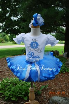 Cinderella Birthday Tutu Outift -personalized with age and name -PINK or BLUE - Do they make an adult size version?  :)