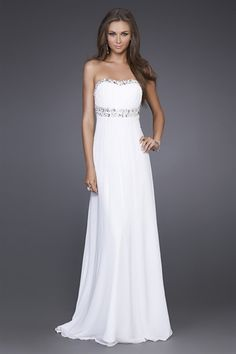 White Chiffon Prom Dress, Long White Formal Dresses, Dresses For Prom