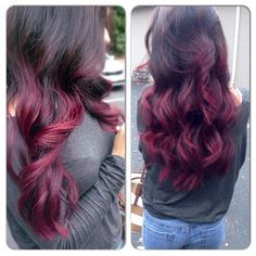Red violet fall ombre hair
