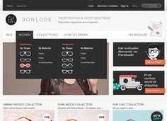 Clean and beautifully illustrated drop down menu. BonLook