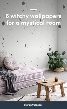 Styling your space with new spiritual decor and magical accessories? This collection of witchy wallpapers with tips and ideas for a chilled-out aesthetic will provide some bewitching inspiration for your own mystical room. World Map Wallpaper, Home Wallpaper, Wallpaper Ideas, Daybed In Living Room, Witchy Wallpaper, Childrens Shop, Meditation Corner, Spiritual Decor, Bedroom Murals