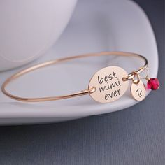 Best Mimi Ever Bangle Bracelet, Mother's Day Gift for Mimi – georgie designs personalized jewelry