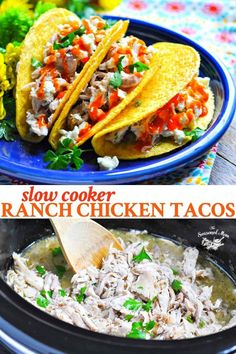 Ranch Chicken Tacos in a Crock Pot These Slow Cooker Buffalo Ranch Chicken Tacos are an easy dinner with 5 minutes of prep! These easy tacos are delicious and loved by the whole family! Crock Pot Slow Cooker, Slow Cooker Chicken, Slow Cooker Recipes, Crockpot Recipes, Fast Recipes, Cooking Recipes, Chicken Ranch Tacos, Chicken Fajitas, Best Chicken Recipes