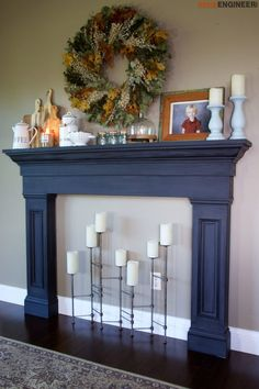 diy-faux-fireplace-surround - Free DIY plans | rogueengineer.com #FlauxFireplaceSurround #LivingroomDIYplans