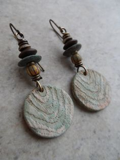 Faux Fir Totems ... Polymer Clay and Brass Wire-Wrapped Rustic, Boho, Earthy, Primitive, Tribal, Woodland Earrings