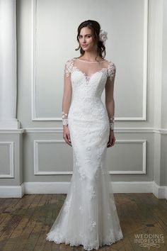 lilian west 2016 bridal collection lace and tulle straight embellished with a sabrina neckline 6378